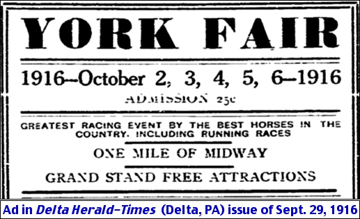 York Fair ad in September 29, 1916 issue of the Delta Herald-Times