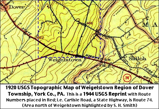 1920 USGS Topographic Map of Weigelstown Region of Dover Township, York County, PA
