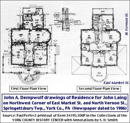 John A. Dempwolf drawings of Residence for John Laing (Collections of the York County History Center with Annotations by S. H. Smith)