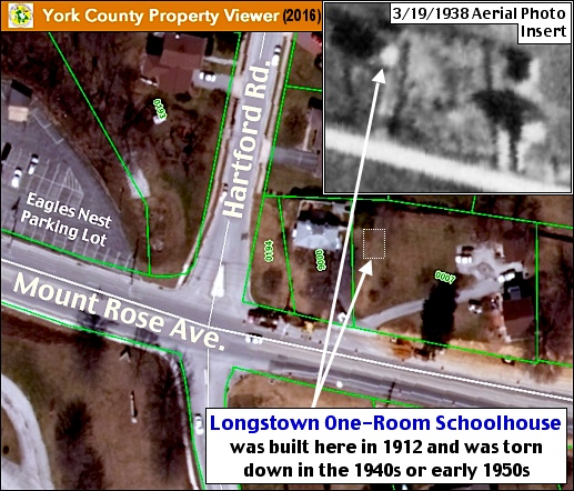 York County Property Viewer (2016) with 1938 Historic Aerial Photo as the Upper Right Insert (2016 Viewer from York County Assessment Office and 3/19/1938 Historic Aerial Photo from Penn Pilot; Annotated by S. H. Smith, 2016)