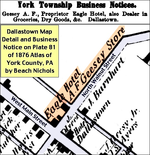 Dallastown Map Detail and Business Notice on Plate 81 of the1876 Atlas of York County, PA, by Beach Nichols (Annotated by S. H. Smith, 2016)