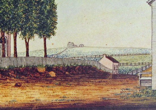 William Wagner's 1830 view of Upp's vineyard, now the site of Farquhar Park
