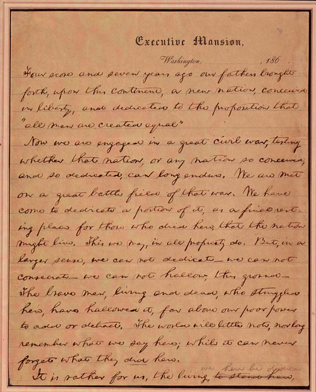 First page of Lincoln's first draft of the Gettysburg Address.  Library of Congress