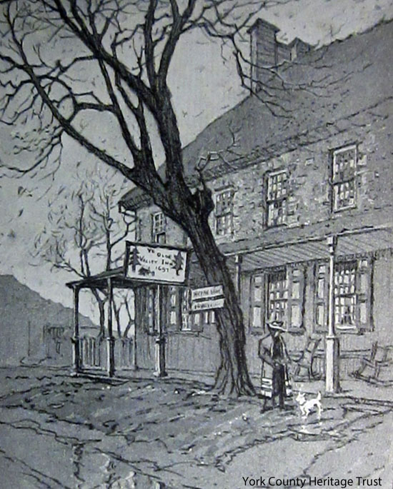 Walter Hale's 1916 drawing of York Valley Inn