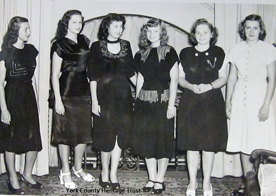 1947 entrants, left to right: Norma Patterson, Glen Rock RD2; Sarah Ann Thompson, New Freedom; Nancy Forney, Lancaster RD8; Jean Shoemaker, Kirkwood RD1, Lancaster Co.; Ruby Zegor, Greencastle, Franklin Co. and Josephine Gable, Felton.