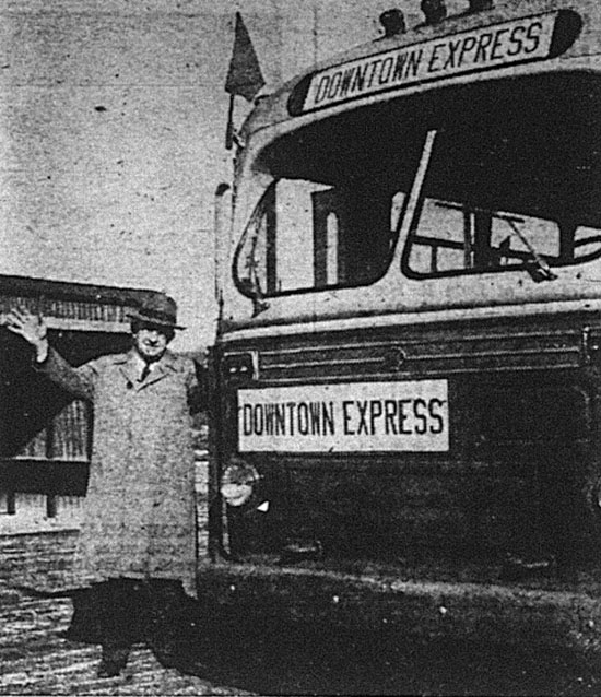 """SHUTTLE-BUS SERVICE from a city-built lot beside Wallace Street at Harrison Street to downtown was begun at noon yesterday [November 30].  Among the first users was Mayor Fred A. Schiding (above).  Shoppers may leave their cars free of charge at the lot and ride free, during December, to the center of the city.  Buses leave at 10-minute intervals.  The service is sponsored by Downtown-York, Inc., a group promoting the center of the city as a shopping district.  One of the drivers said about 150 persons rode the buses yesterday."""