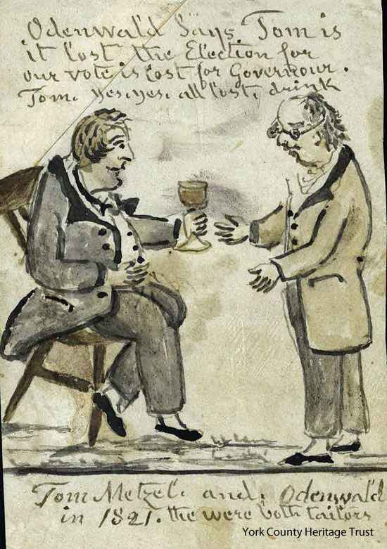 Recently acquired Lewis Miller drawing showing Yorkers having a drink after their candidate lost the election for Governor in 1821