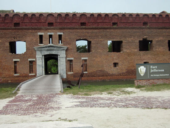 The only entrance to Fort Jefferson.  The Lincoln prisoners were at one time housed in the area right above the portal.