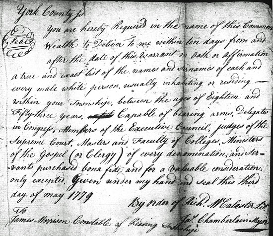 PA State Archives RG-4, Records of the Comptroller General, Military Accounts, Militia, York County 1777-1794, 3 May 1779.