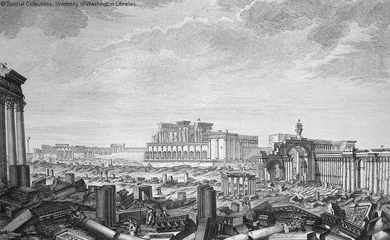Engraving of Palmyra from the 1753 book by Wood