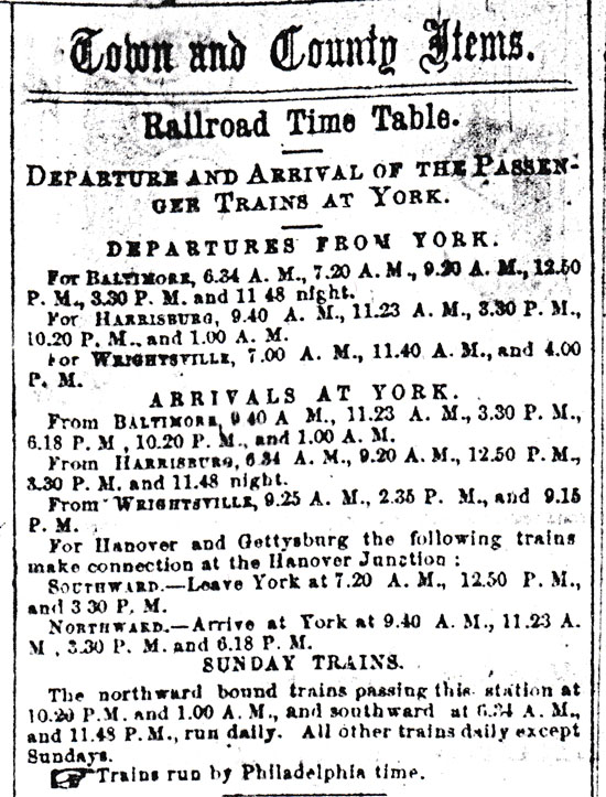 Note the frequent train departures and arrivals in February 1873  From York Gazette microfilm at York County Heritage Trust)