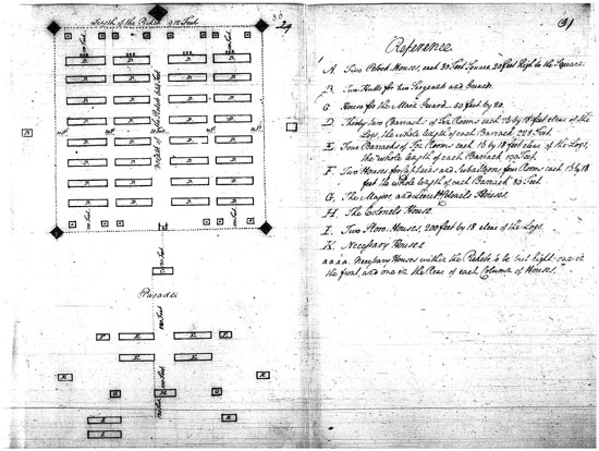 General Greene's 1779 plan for Virginia camp to hold Convention prisoners.  Courtesy of the National Archives and Records Administration