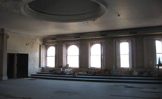 Second floor arched windows