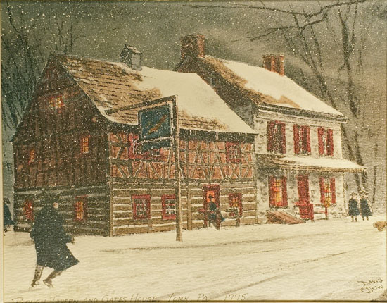 The initial York County print of the Plough Tavern and Gates House in winter