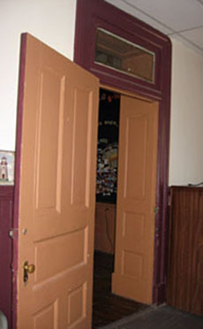 Interior paneled door and transom