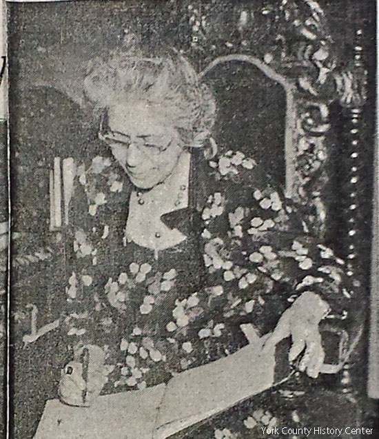 Anna Dill Gamble and her manuscript (York Sunday News, October 1948)