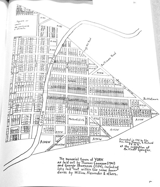 The western part of York, by Henry J. Young, based on Cookson's 1741 survey and Stevenson's 1754 draft.  Notice South is at the top of the page.