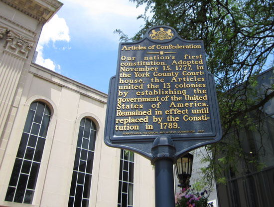 Articles of Confederation historical marker on York's square