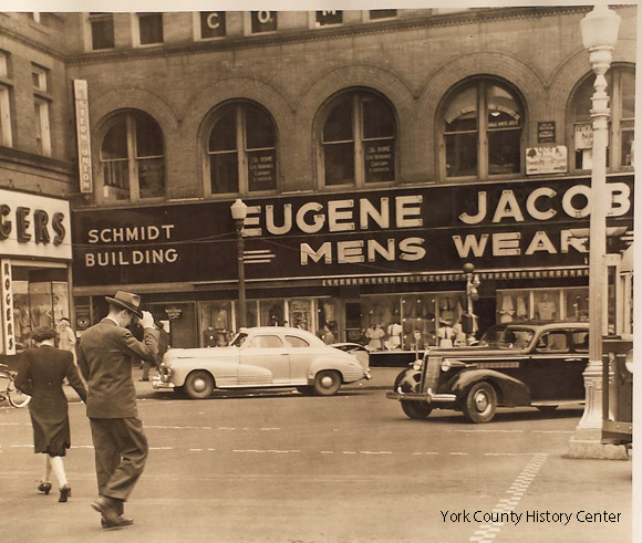 The Schmidt building when occupied by Eugene Jacobs Mens Wear, probably 1950s