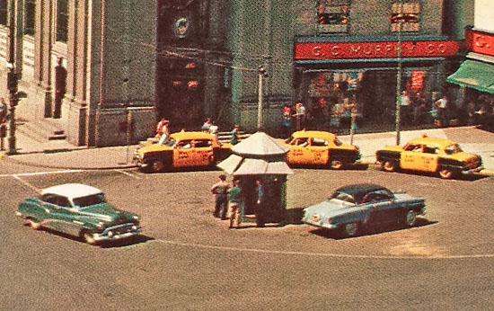 This 1950s postcard shows an unusual canopy.