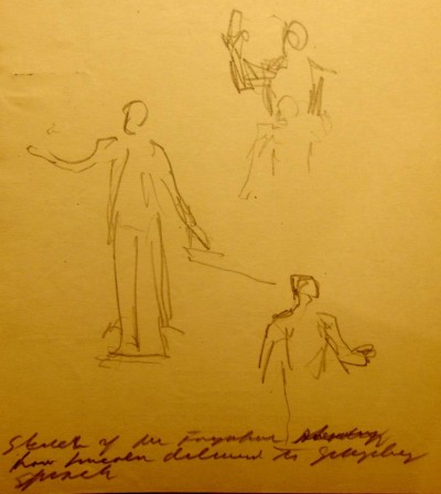 """Sketch of Mr. Farquhar showing how Lincoln delivered the Gettysburg Speech."" Artist James E. Kelly. Courtesy of Civil War author William Styple"