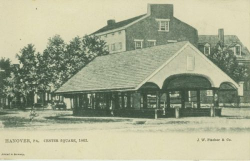 The market shed in the square of Hanover, Pa. (Scott Mingus postcard collection)