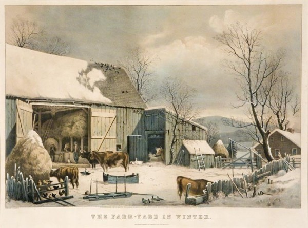 Currier and Ives print of a 19th century farm in the winter. Prints such as these can be purchased from www.oldprintshop.com