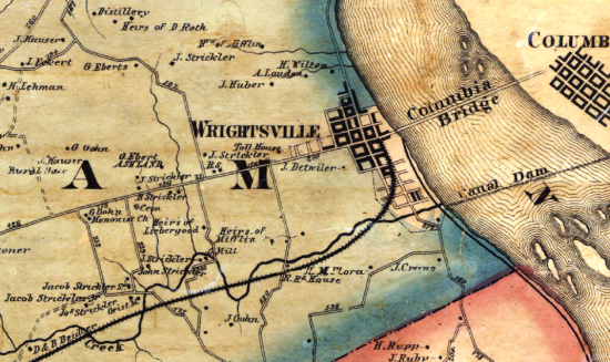 Detail from the 1860 Shearer & Lake Map of York County (YCHT)