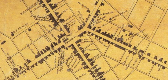 1860 map of Hanover, Pennsylvania (PHMC)