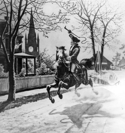 Depiction of Paul Revere's ride through the Massachusetts countryside to warn the residents that the British were coming. (National Archives)