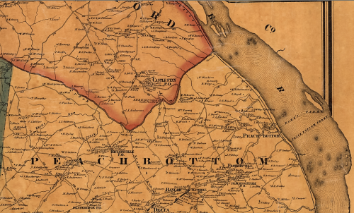 Detail from the 1860 Shearer & Lake Map of York County, Pa. showing Peach Bottom Township