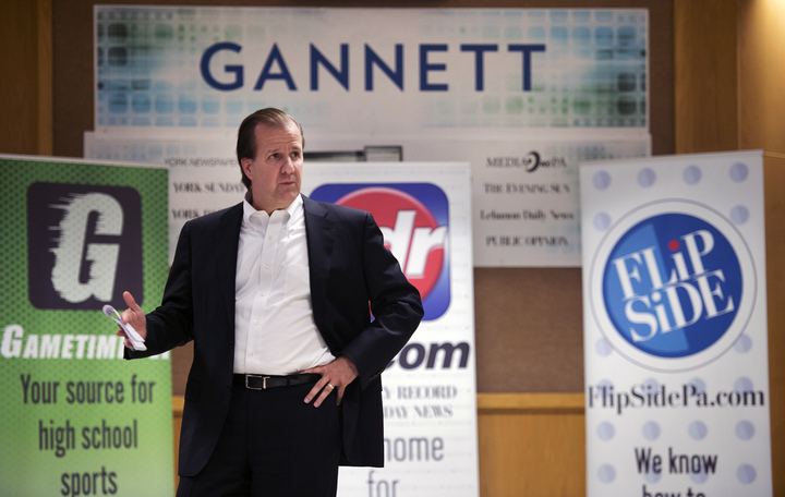 Michael Kane, east group president at Gannett talks to the York Daily Record, York Newspaper Company and York Dispatch after announcing ownership of the properties Monday June 1, 2015. Paul Kuehnel - York Daily Record/ Sunday News