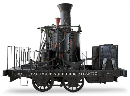 "Pioneering locomotive ""The Atlantic"" built by Phineas Davis in 1832. (Baltimore & Ohio Railroad Archives)"