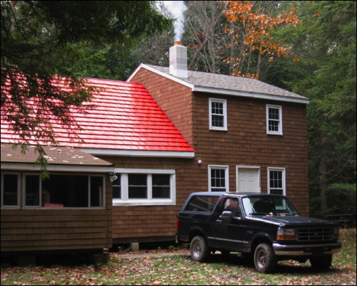 Plank Bottom Club hunting camp in Centre County contains red metal roof shingles repurposed from Huntleys along Memory Lane in Springettsbury Township, York County, PA (Photo submitted by Mike Eisenhart)