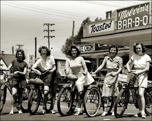 Five girls, with their bicycles, pose for close-up photo next to west side of Melvin's Drive-In, along south side of East Market Street, at Mill Creek, in Springettsbury Township, York County, PA (Submitted by Kit Lentz)