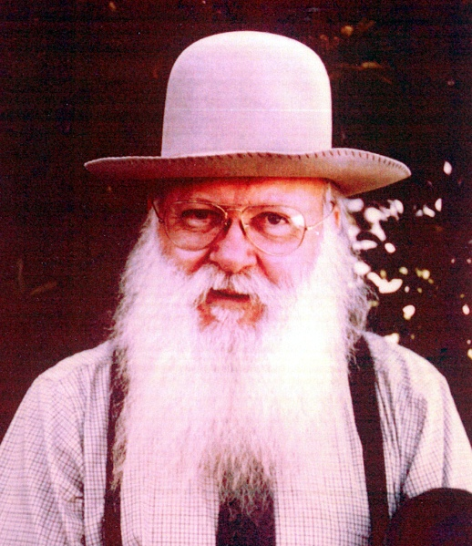 Karl Ort with his trademark felt hat, wire rimmed glasses and legendary beard (Photo from about 1980; in Collection of York County History Center)