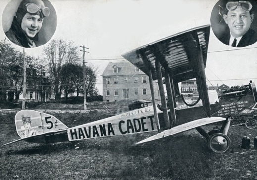 Karl Ort's DeHavilland DH-4 airplane painted with Havana Cadet advertising for the Manchester Cigar Company; in upper left is pilot Karl Ort and in upper right is sales manager Ray Paris (Photo from 1923; in Collection of York County History Center)