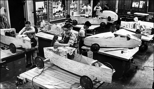 13-year-olds working on their Soap Box Derby racers at Jordan Junior High School (June 24, 1960, issue of the Minneapolis Star)