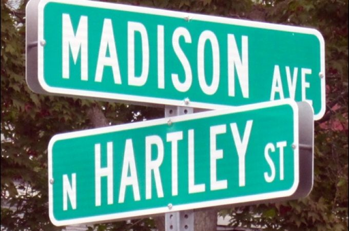 Street signs at location of finish line on the Madison Avenue, 730-foot long, Soap Box Derby course in York, PA, from 1939 until 1951 inclusive. (S. H. Smith photo)