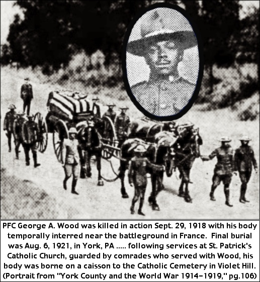 "WWI burial procession with an inset of PFC George A. Wood from page 106 of ""York County and the World War,"" by Hall and Lehn (S. H. Smith illustration)"