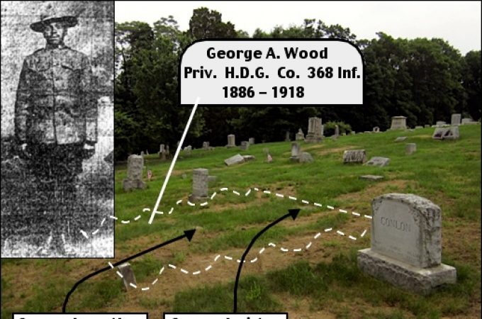 Southward looking view in St. Mary's – St. Patrick's Cemetery, Spring Garden Township, York Co., PA. (Newspaper clipping insert of PFC George A. Wood, submitted. Cemetery photo annotated by S. H. Smith, showing area within which the grave of George Wood is located.)