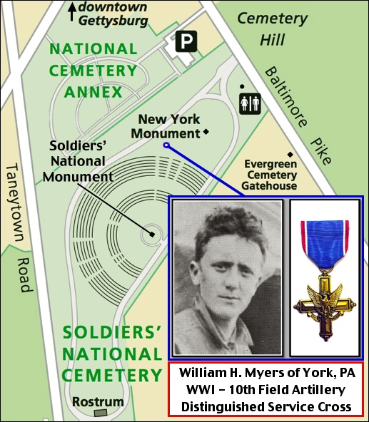 Illustrated map pinpointing the location of William H. Myers' grave in Soldiers' National Cemetery at Gettysburg.  (S. H. Smith illustration, from National Park Service base map)