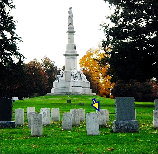 "Looking south towards Soldiers' National Monument in Gettysburg National Cemetery, from behind ""Section 8"" graves; containing the few WWI veterans. An arrow points to the grave stone of William H. Myers, of York, PA. (S. H. Smith illustration)"