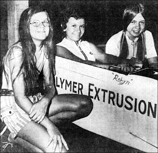 Three of the girls entered in the 1972 York Soap Box Derby races; from left they are: Trinea Klunk, 11, Red Lion, Robyn Driscoll, 12, Yorklyn, and Debbie Laughman, 13, Spring Grove RD 1. (Photo from The York Daily Record, York, PA; July 12, 1972)