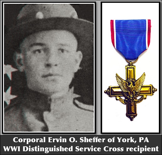 Corporal Ervin O. Sheffer, of York, PA: WWI Distinguished Service Cross recipient (Photo from page 44 of York County and the World War by Clifford Hall & John Lehn)