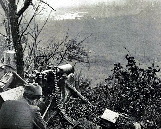 Photo of captured German Machine-Gun Nest, high on hill overlooking valley (American Battle Monuments Commission publication of  American Operations in the Meuse-Argonne Region)