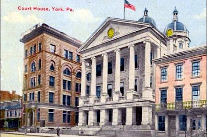 The third York County Courthouse, as viewed in 1917 (Pinterest photo)