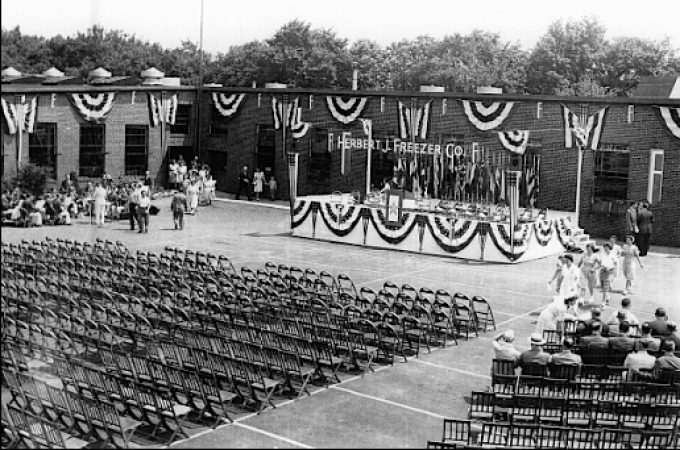 "Courtyard of the H. J. Freezer Company plant in Spring Garden Township, York County, PA (June 27, 1944 prior to presentation of Army-Navy ""E"" Award; photo in Collection of York County History Center)"