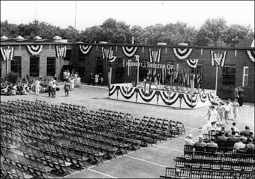 """Courtyard of the H. J. Freezer Company plant in Spring Garden Township, York County, PA (June 27, 1944 prior to presentation of Army-Navy """"E"""" Award; photo in Collection of York County History Center)"""