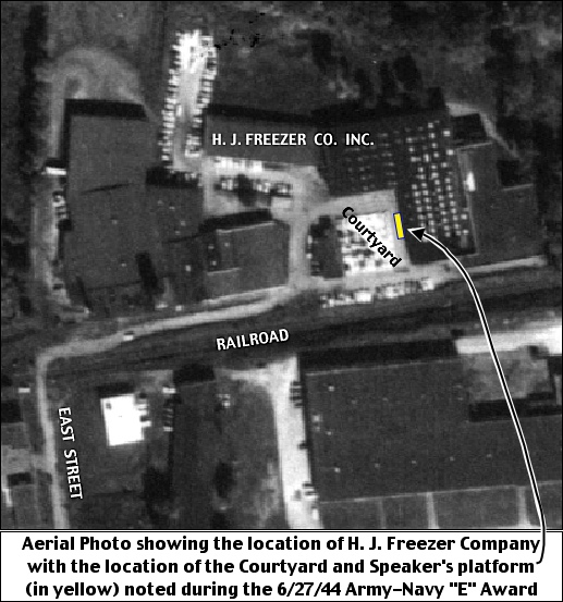1957 Aerial Photo showing the former H. J. Freezer plant, on the north side of the railroad tracks in Spring Garden Township, York County, PA  (October 9, 1957, Aerial Photo from York County Archives; annotated by S. H. Smith, 2018)